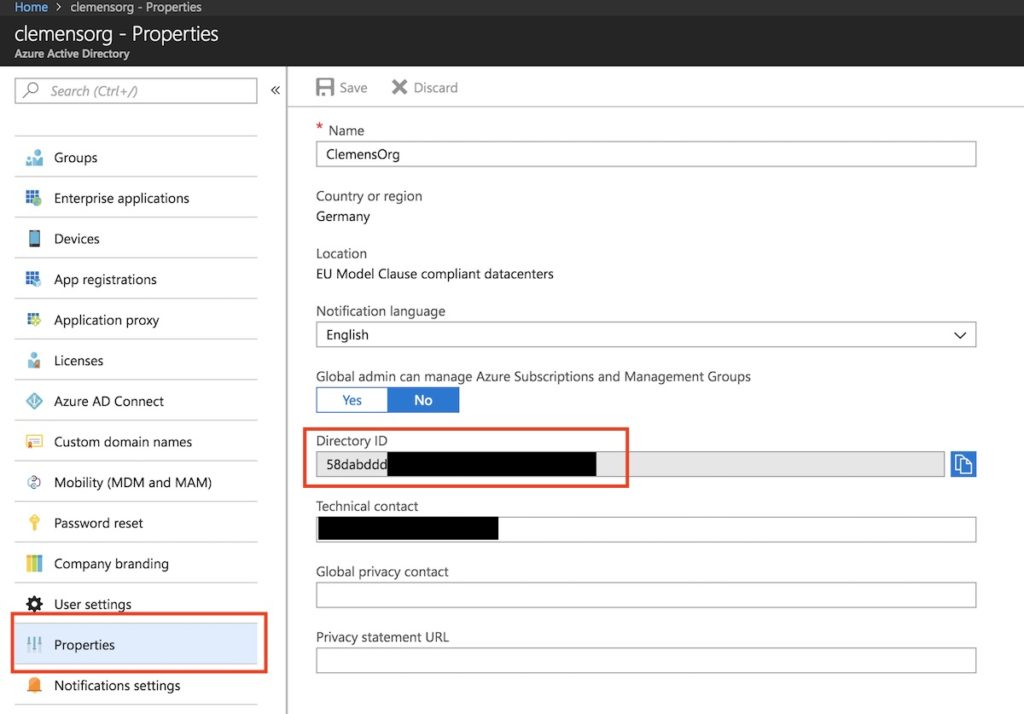 Our Azure Active Directory ID