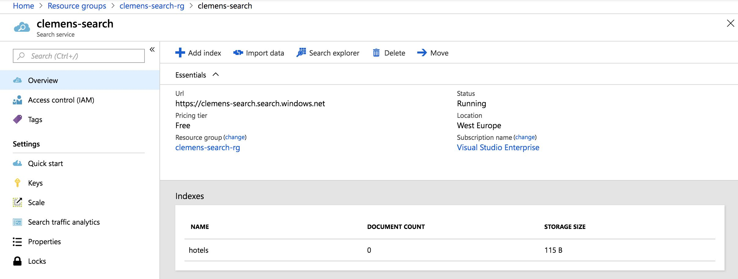 Azure Search Quickstart Tutorial - clemenssiebler com